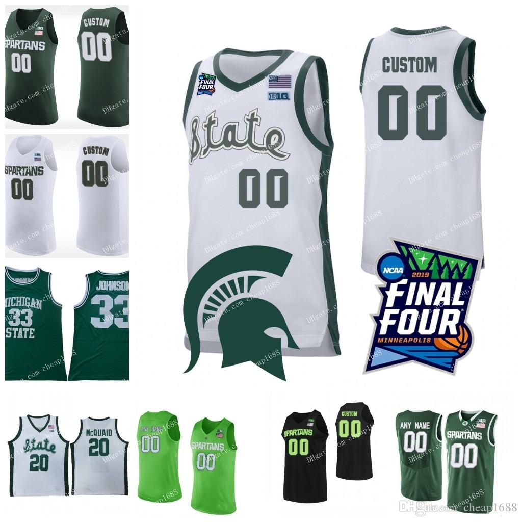 low priced d6243 d19f9 Custom Michigan State Spartans Basketball 5 Cassius Winston 1 Joshua  Langford 2019 Final Four White Green Any Name Number MSU Jerseys