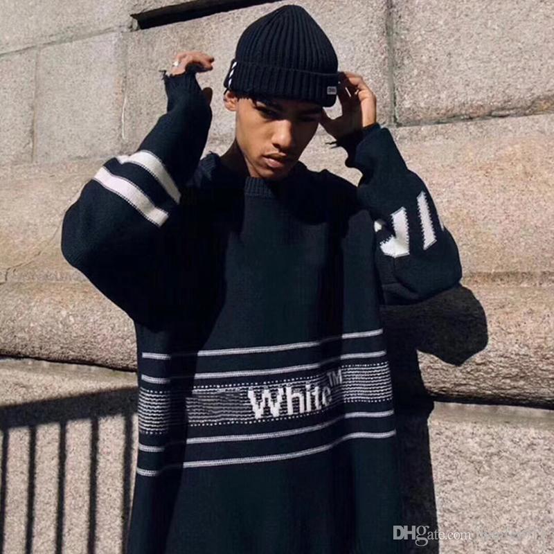 купить оптом 18fw 0ff логотип полосы свитер трикотаж письме