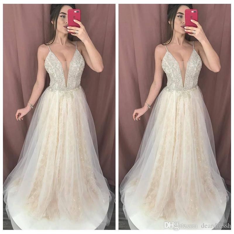 2019 Spaghetti Strips A-Line Lace Wedding Dresses Beading Sequins Long Bridal Gowns Customized Spring Vestidos De Marriage Cheap
