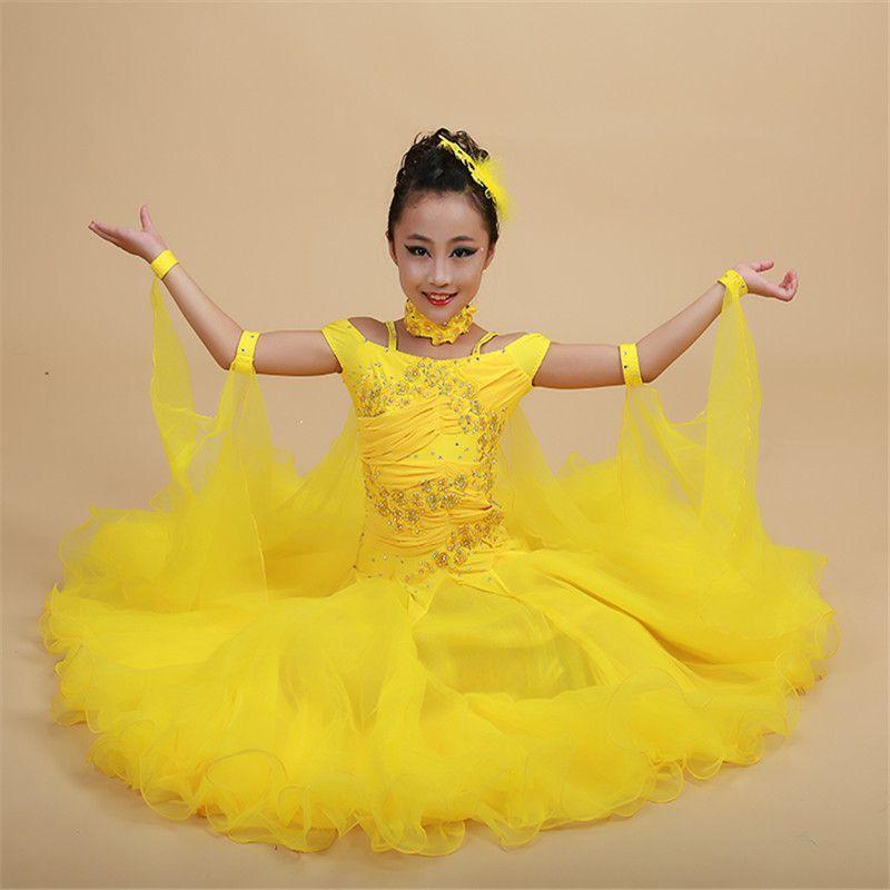 2019 Luxury Rhinestone Embroidery Pendulum Girls Standard Ballroom Dance  Dress Children Tango Flamenco Waltz Dance Competition Dress From Houmian,  ...