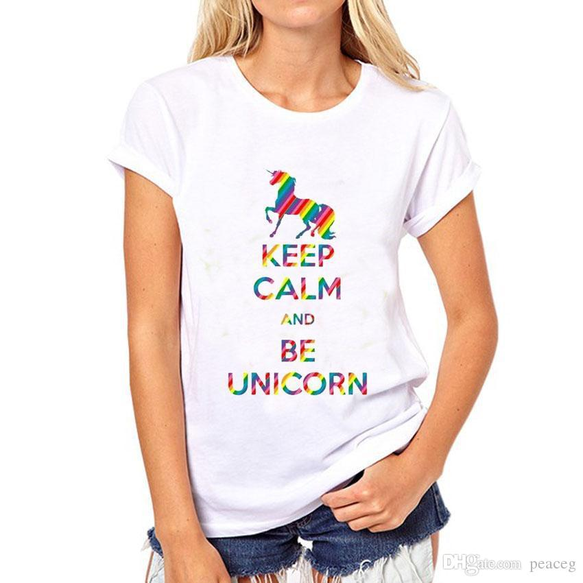 Unicorn t shirt Keep calm and be short sleeve Colorful print fadeless tees Leisure white colorfast clothing Pure color modal Tshirt
