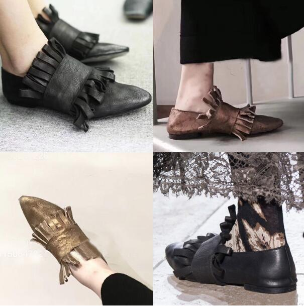 Hot Sale-Fall Winter Sheepskin Single Shoes Pointed toe Tassel Fringe Ballet Flats Women's Loafers