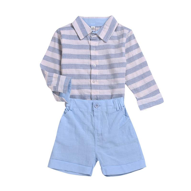 INS boys suits stripe kids outfits kids designer clothes boys designer clothes stripe long sleeve shirt+shorts kids clothes A7893