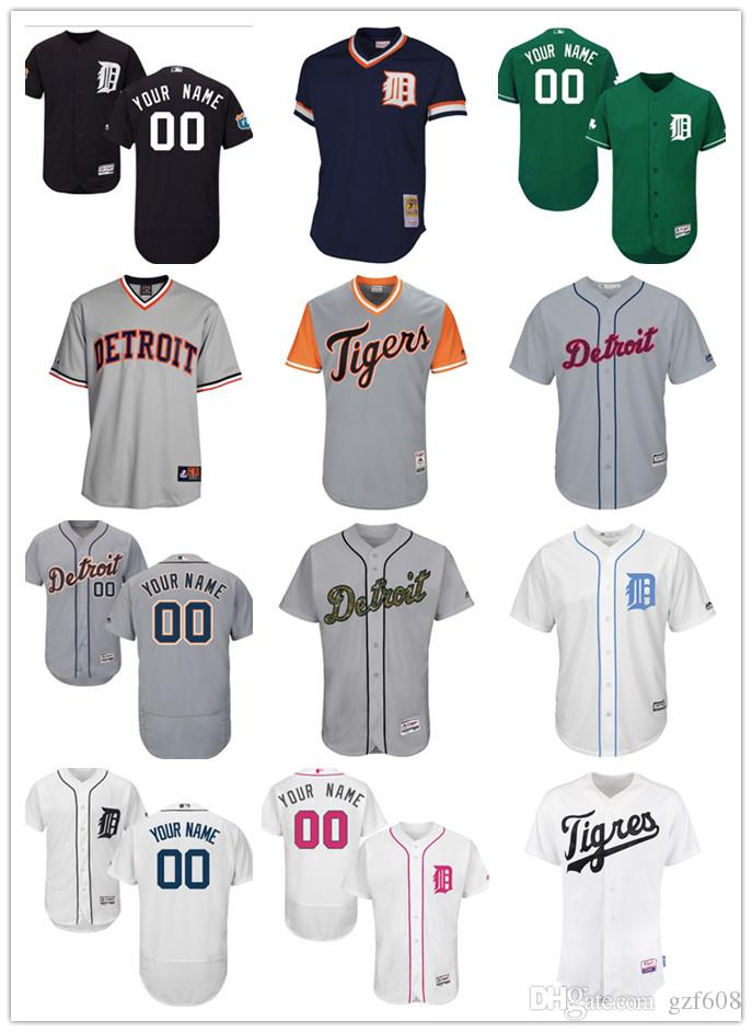 590db243e Custom Men s Women Youth Majestic Detroit Tigers Jersey  00 Any Your ...