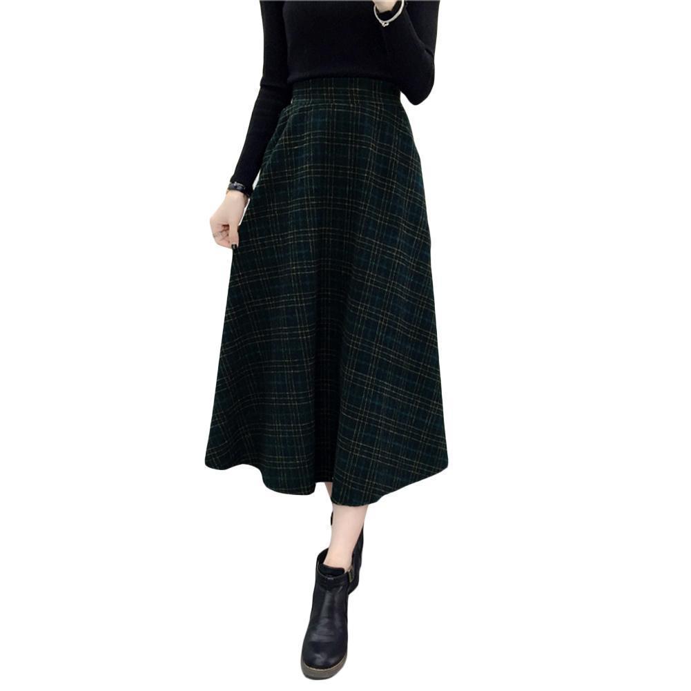 46ccbf4586 Compre 2019 Nueva Moda Otoño Invierno Mujer Falda A Cuadros Lana Alta  Cintura Elástica Elegante Una Línea Vintage Cálido Midi Faldas A  42.23 Del  Jamie17 ...