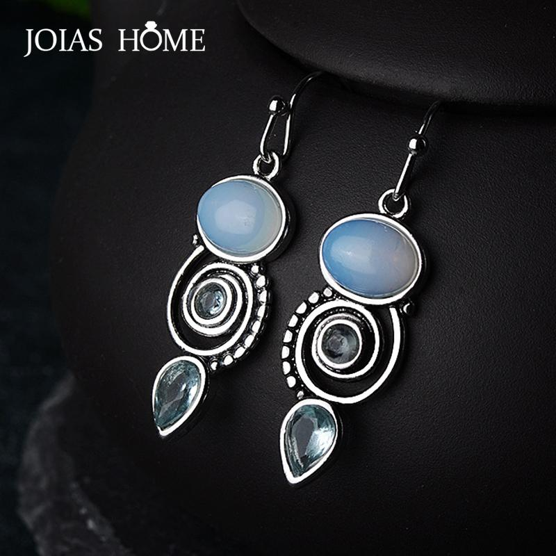 JoiasHome Vintage 925 Sterling Silver Drop Earrings For Women With Round Topaz Gemstoes Charm Femal Wedding Party Gift