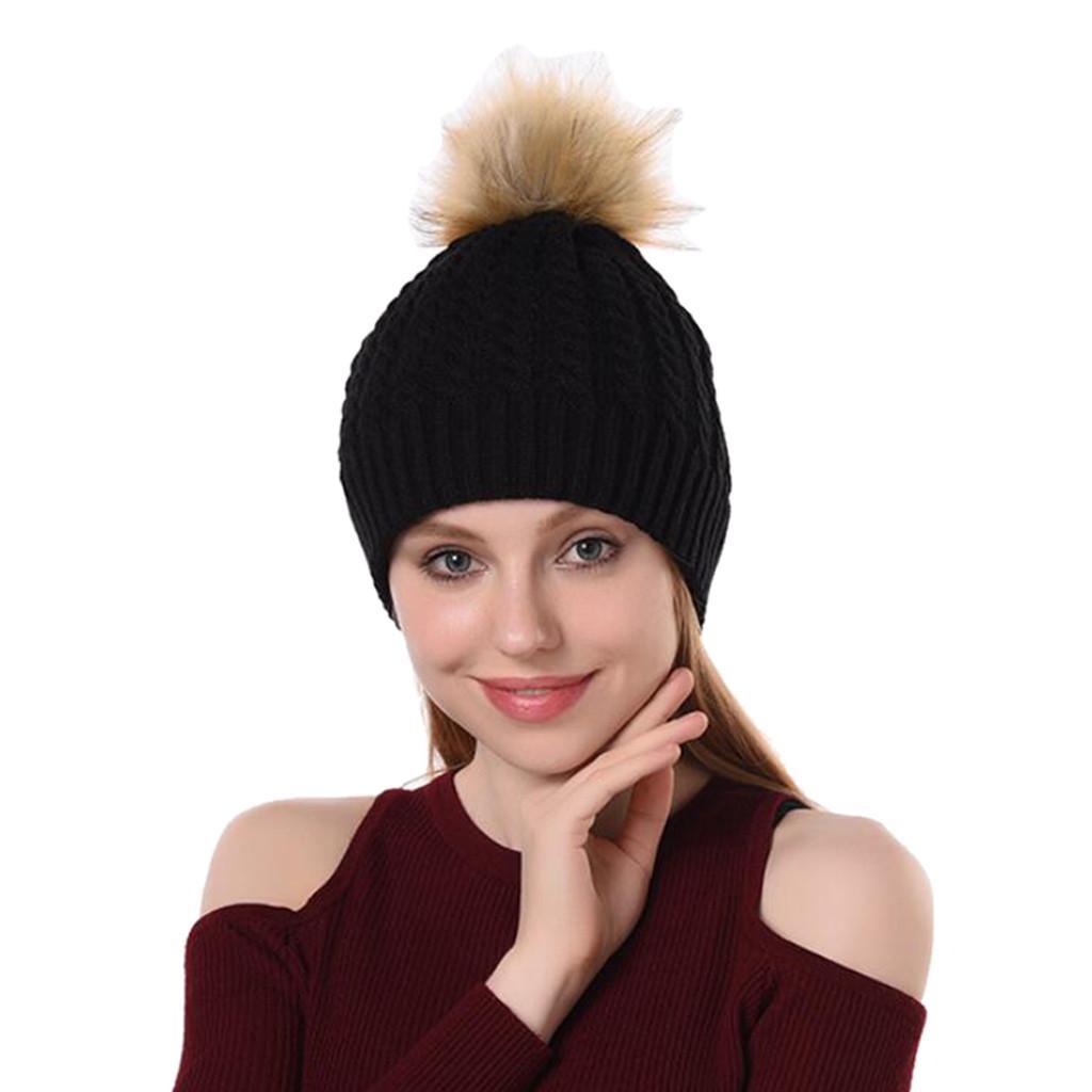 e799d3da0 New Women Autumn Winter Outdoor Warm Hairball Hats Crochet Knit Holey  Beanie Cap Knit Hat With Pom Pom Bonnet Femme Hiver 10