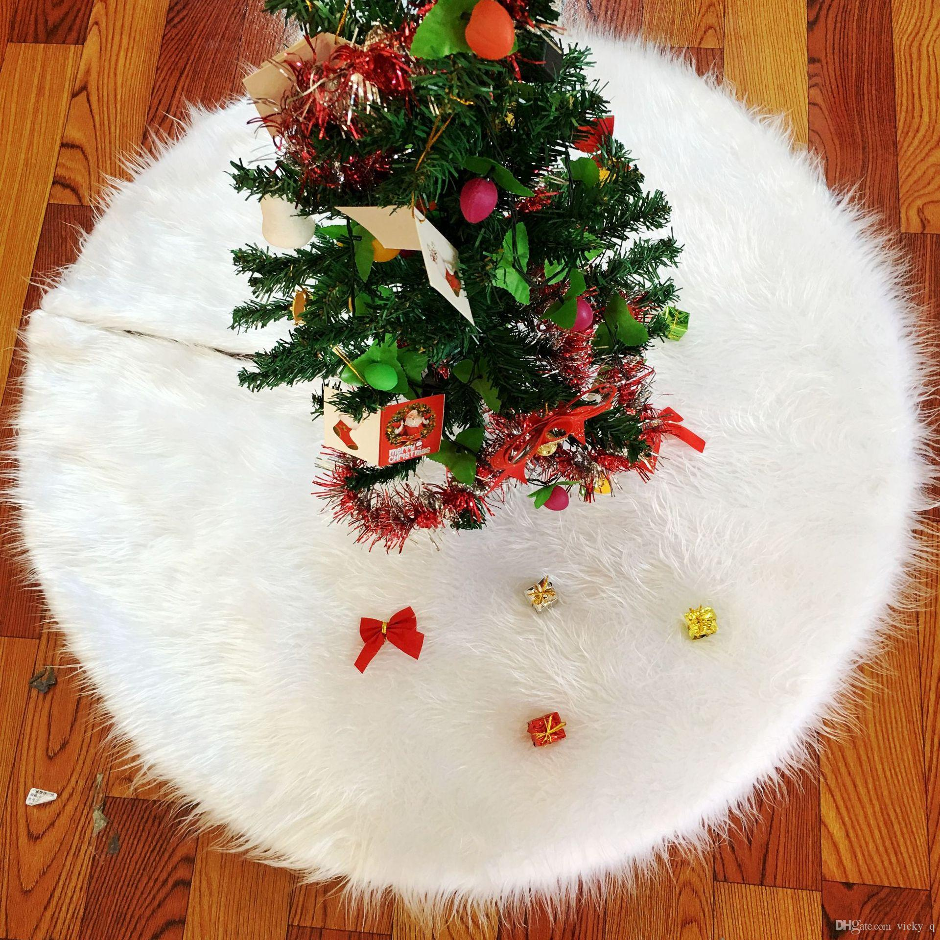 Pure Color White Long Hair Christmas Tree Skirt Soft Winter Warm Carpet for Gifts Party Store Photo Prop Supplies