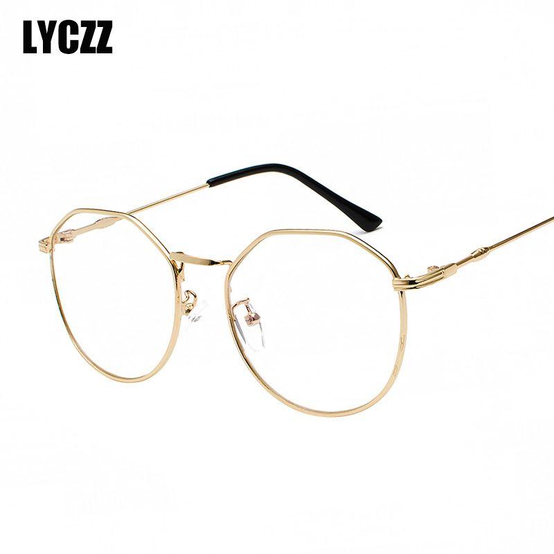 2d0e2d412af8 2019 LYCZZ Gold Glasses Frames Women Men Metal Brand Eyewear Vintage  Spectacle Frame Clear Lenses Anti Blue Light Myopia Eyeglasses From  Taihangshan