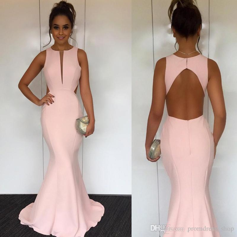 280981689dc07 2019 Cut Out Back Pink Mermaid Evening Dresses Jewel Neck Sleeveless Satin  Backless Simple Concise Evening Gowns Elegant Prom Dresses