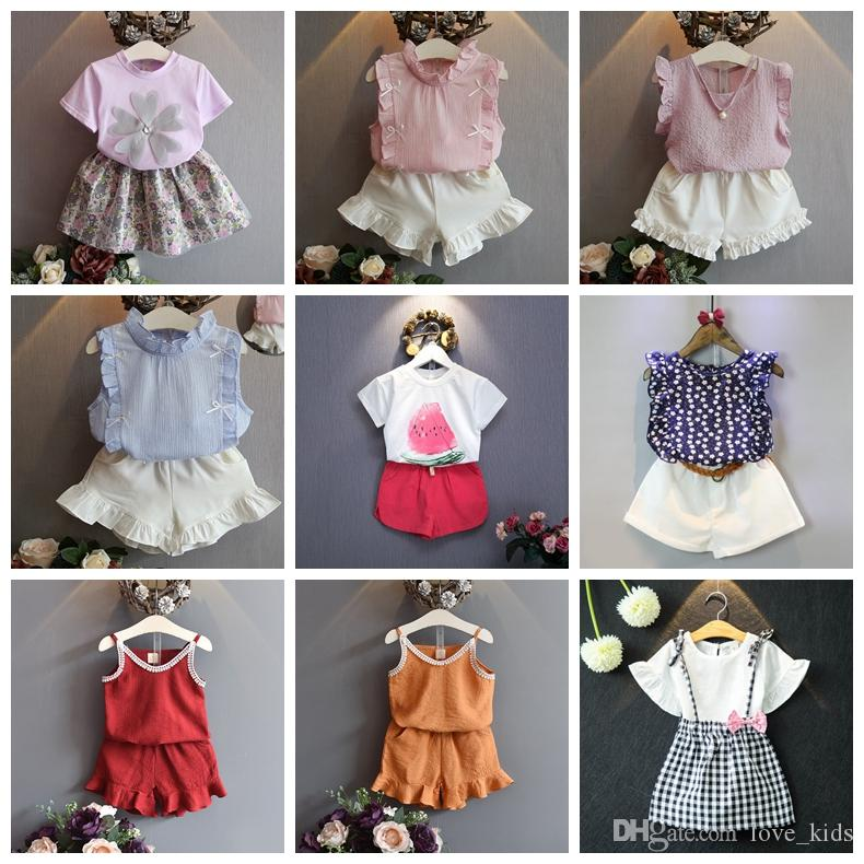 263572b4c214 2019 New Designer Baby Girls Summer Outfits Floral Chiffon Cotton T Shirt  Tops+Shorts Pants Tutu Skirts Clothing Set Kids Children Boutiques From  Love kids