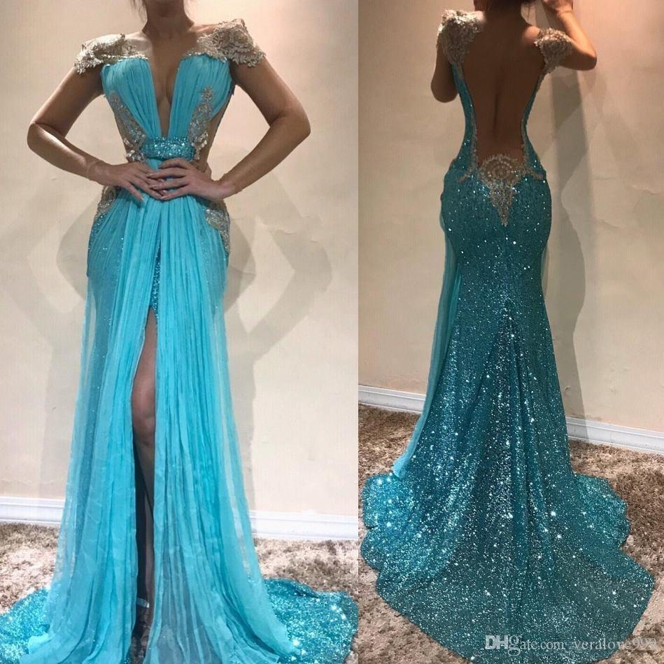 eed36968d23 Light Sky Blue Mermaid Sequins Prom Dresses 2019 Deep V Neck Sexy Backless  Evening Party Gowns Sleeveless Front Split Prom Party Dresses Prom Dress  Cheap ...
