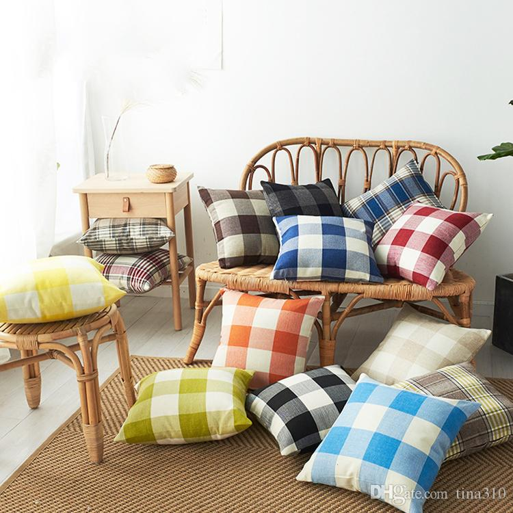 new Plaid Pillow Case Linen Plain Striped Pillow Cover Check Pattern Pillows Covers Xmas Square Tartan car Pillowcases 14Styles T2I5301