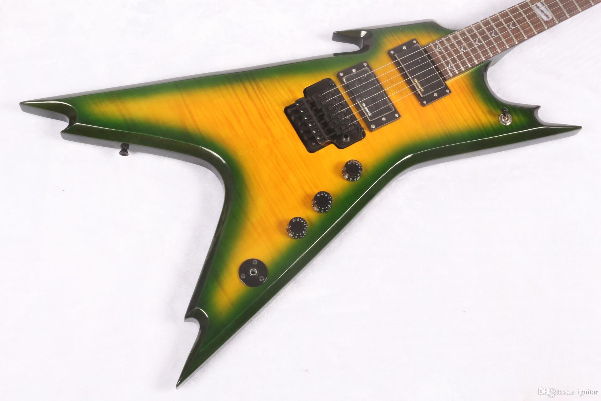 new custom dean dime razorback electric guitar flying v yellow green body emghz 81 85 active. Black Bedroom Furniture Sets. Home Design Ideas