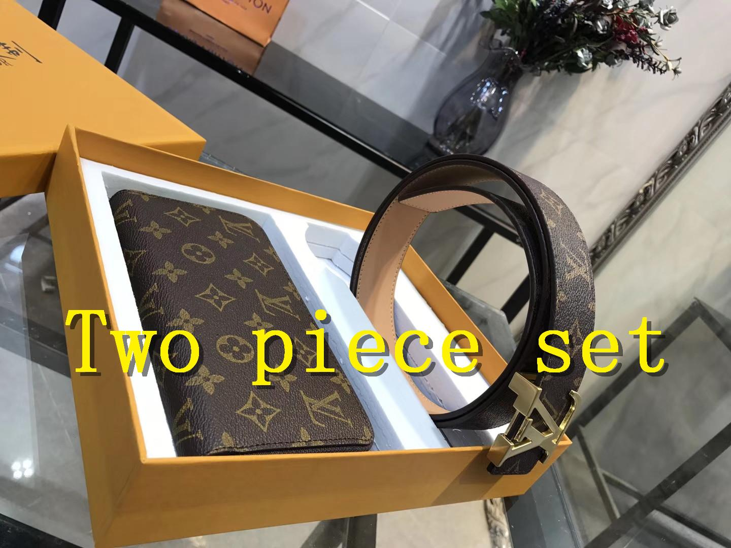 [With box] 2019 New Designer wallet wholesale ladies single zipper wallet women men leather wallet long purse belt Clutch Two piece set