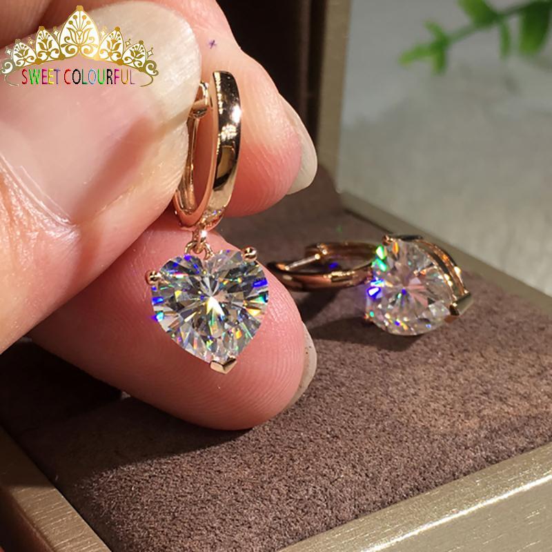 f706fc6106f40 18K Gold A pair of Earrings 1CT D Color Moissanite Earrings For Women M-0.8