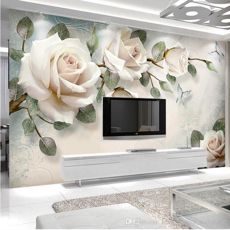 Carta da parati moderna su ordinazione 3D della foto Pittura murale Fiori  bianchi della rosa per il salone Camera da letto TV fondo Carta decorativa  ...