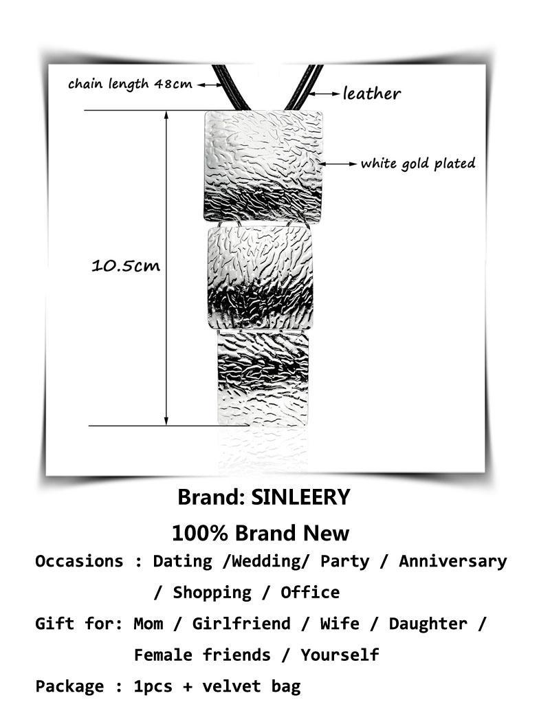 Collana lunga sexy con ciondolo quadrato grande Maxi gioielli con catena in pelle nera per donna XL176 SSB