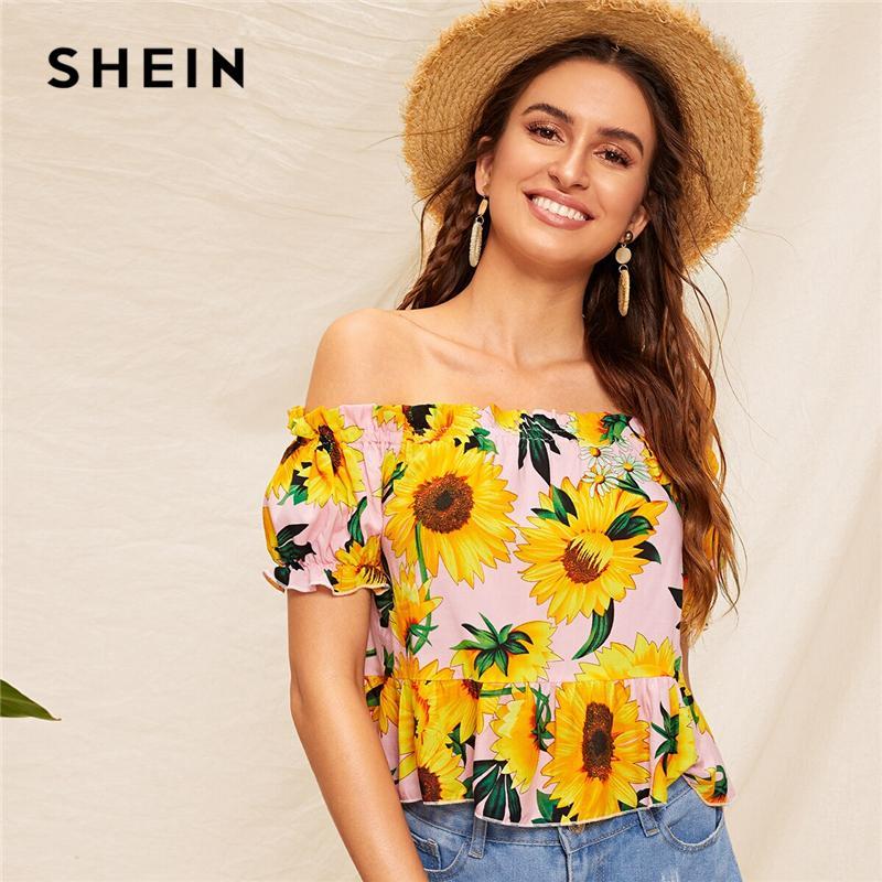 0ce54e5bc3 2019 SHEIN Off Shoulder Sunflower Print Ruffle Hem Crop Top 2019 ...
