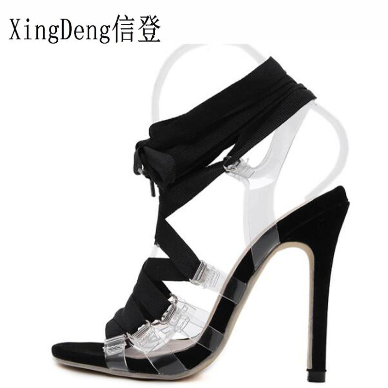 4a4fe3e90db Dress Xingdeng European Lace Up Bandage Women Evening High Heels Pumps Shoes  Ladies Transparent Thin Heels Sexy Party Stilettos Shoes High Heels Heels  From ...