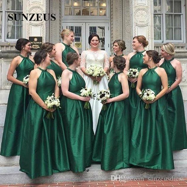 90efcaaf50 Compre Vestido De Dama De Honor Verde Esmeralda Vestidos Largos De Fiesta  De Boda De Tafetán Mujeres Halter Neck Sencillo Y Elegante Vestido De Dama  De ...
