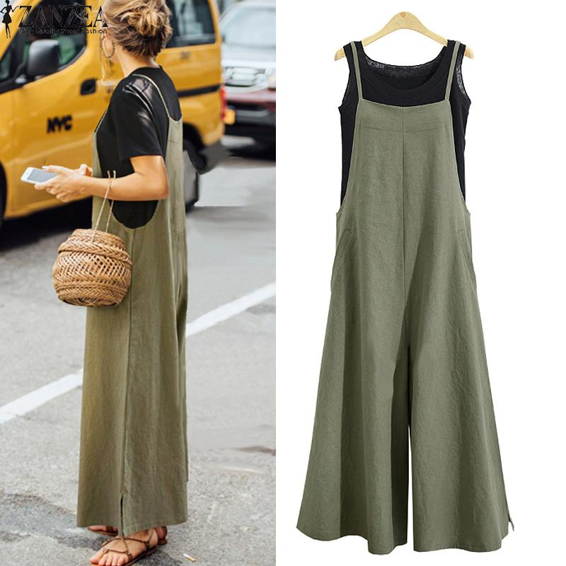 2019 Summer Zanzea Women Cotton Linen Wide Leg Romper Casual Strappy Sleeveless Loose Long Jumpsuit Dungaree Party Overalls Y19071701