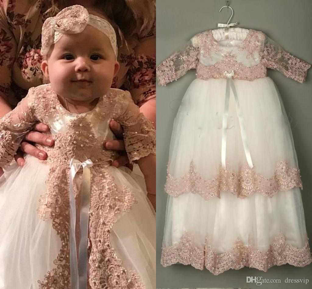 36b1992a1a4bf 2019 3/4 Long Sleeve Christening Gowns For Baby Girls Lace Appliqued Beads  Baptism Dresses With Bonnet First Communication Dress