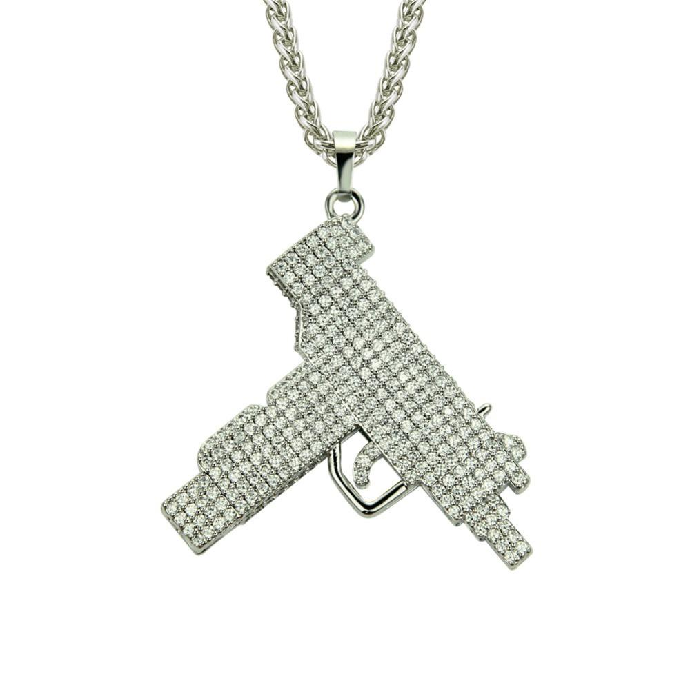 Men Hip Hop Iced out Bling Bling Gun Shape Pendant Necklaces Pave Setting Rhinestone  Fashion Charm Necklace Hiphop Jewelry Gifts Online with  29.38 Piece on ... 07af4b84d5dc