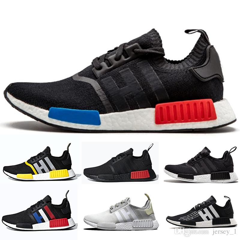 half off 1497a 79649 2019 New Designer NMD R1 Mens Women Running Shoes Classic Cheap Oreo Red  Marble Triple Black White Thunder Sports Outdoor Sneakers Shoe