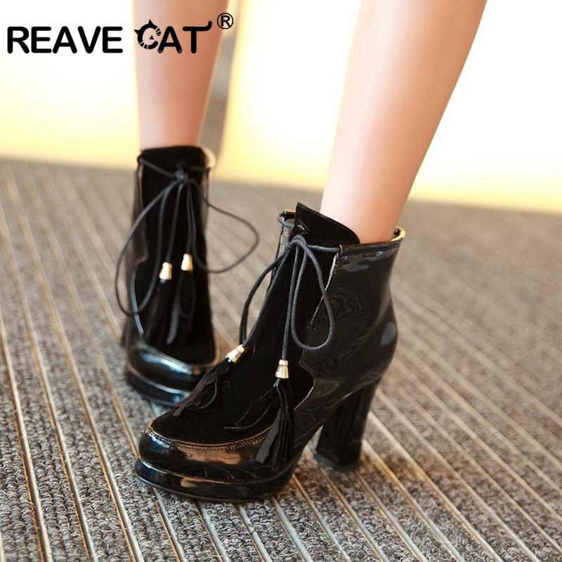 REAVE CAT Plus Size 34 43 Pu Leather Thick Heel Winter Short Women Ankle  Boots Lace Up Round Toe Mujer Botas Feminino A1341 Boots For Girls Fur Boots  From ... 2d2b471b9381