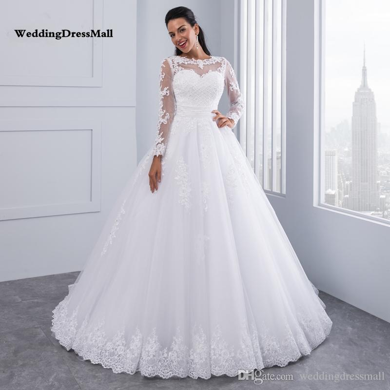0c92ef05b08 Ball Gown 2 In 1 Wedding Dresses 2019 Detachable Train Lace Appliques  Pearls Bridal Gowns Vestido De Novias Vestidos De Noiva Huge Ball Gown  Wedding Dresses ...