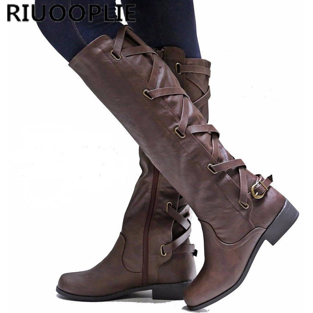 091a203228b7 RIUOOPLIE Women Low Heel Over The Knee Thigh Ladies Leg Calf Boots  Motorcycle Shoes Black Ankle Boots Wedge Shoes From Dryduck