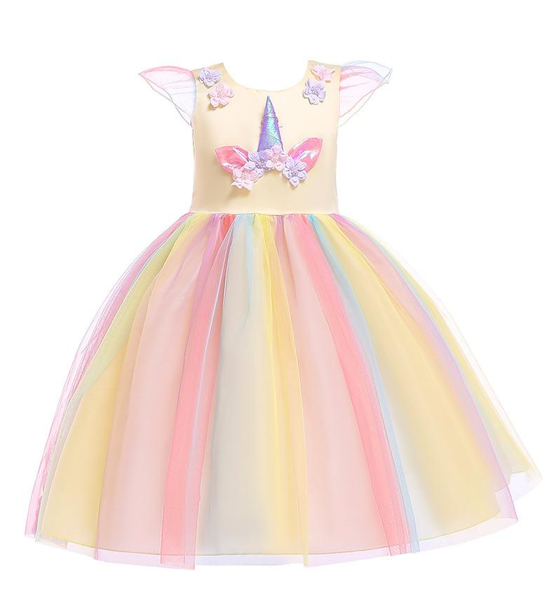 2019 Flower Girl Dress Unicorn Baby Princess Dress Cartoon Kids Birthday Party Dresses 3d Flowers Halloween Baby Girls Clothes Y19061801