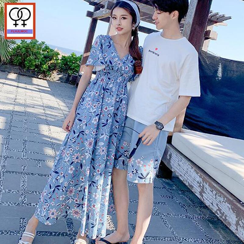 a875980a50 2019 Summer Matching Couple Clothes Lovers Honeymoon Holiday Wear V Neck Dress  Cute Slim Waist Chiffon Bohemian Long Maxi Dress Party Dresses Online Day  ...