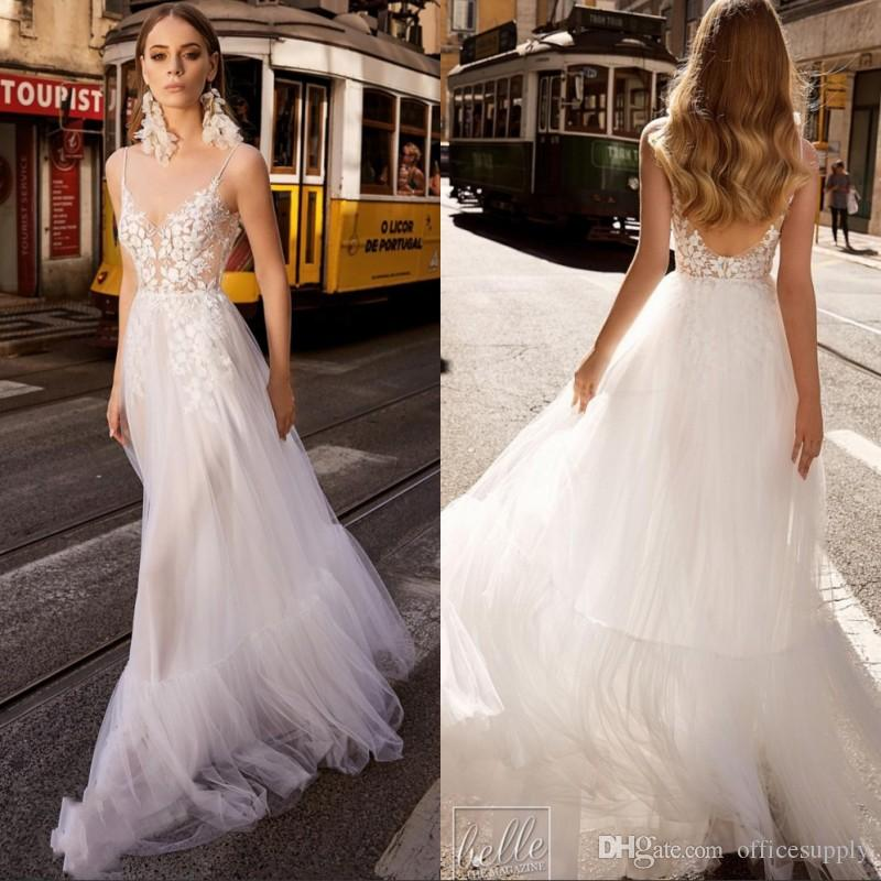 2019 Beach Wedding Dresses Spaghetti Lace Appliqued Illusion Bodice Sexy Backless A Line Boho Bridal Gowns Country Style Wedding Dress