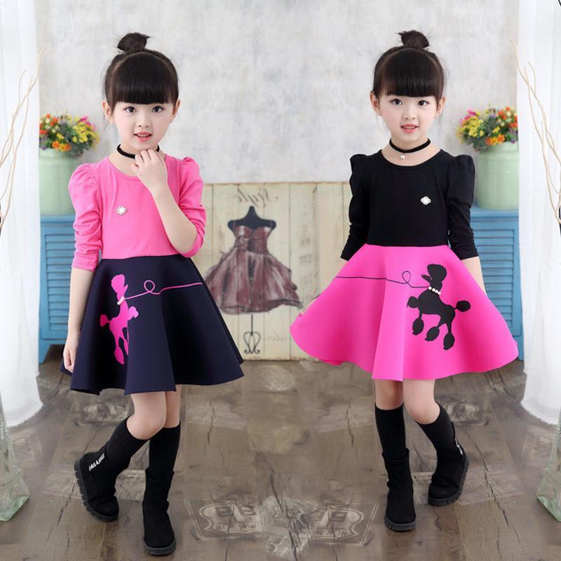a0c25c352fd2 2019 Fashion Spring Autumn Girl Dress 2 11Y Children Clothing Long ...