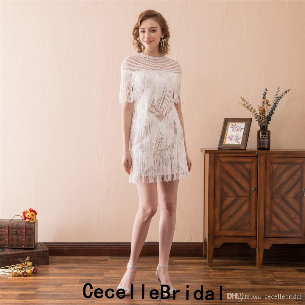 Mais recente Borla Lace Borlas Bainha Vestidos de Cocktail Curtos Mini Acima Do Joelho Adolescentes Meninas Informal Prom Cocktail Party Dress 2019