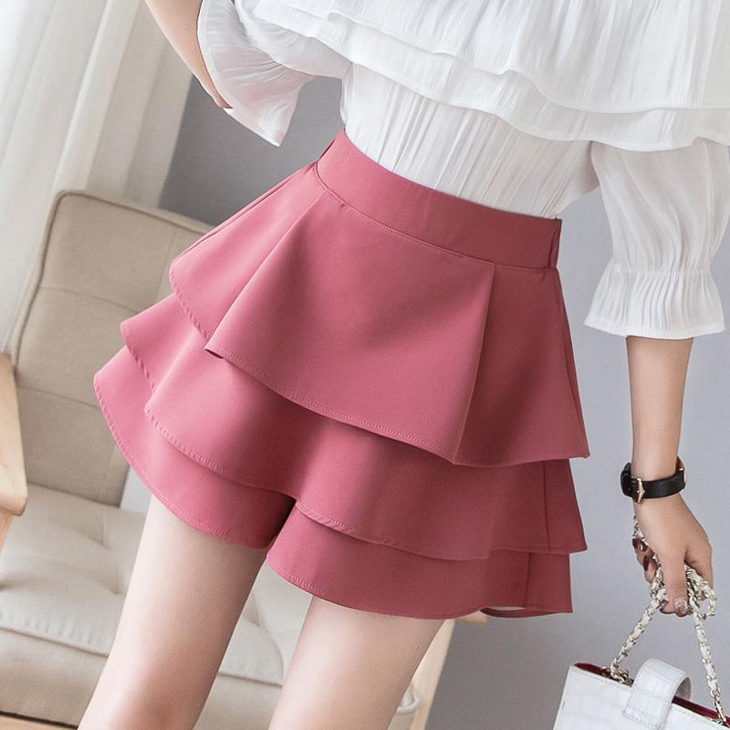 66c631ab01 2019 Female Tulle Skirts 2019 Spring Summer Layered Ruffles Women Cake Skirt  High Waist Wide Leg Cupcake Shorts S190423 From Jinmei02, $21.1 | DHgate.Com
