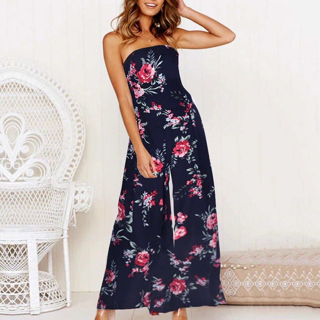 46ba2d1002f 2019 2019 Summer Bohemian Women Long Jumpsuits Fashion Flower Print Holiday  Wide Leg Pants Sleeveless Ladies Sexy Playsuits From Combocai