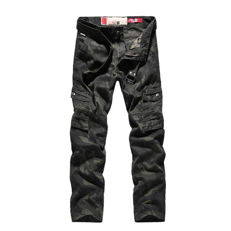 2018 New Men Cargo Pants army big pockets decoration mens Casual trousers male autumn army Camouflage pants plus size Have belt