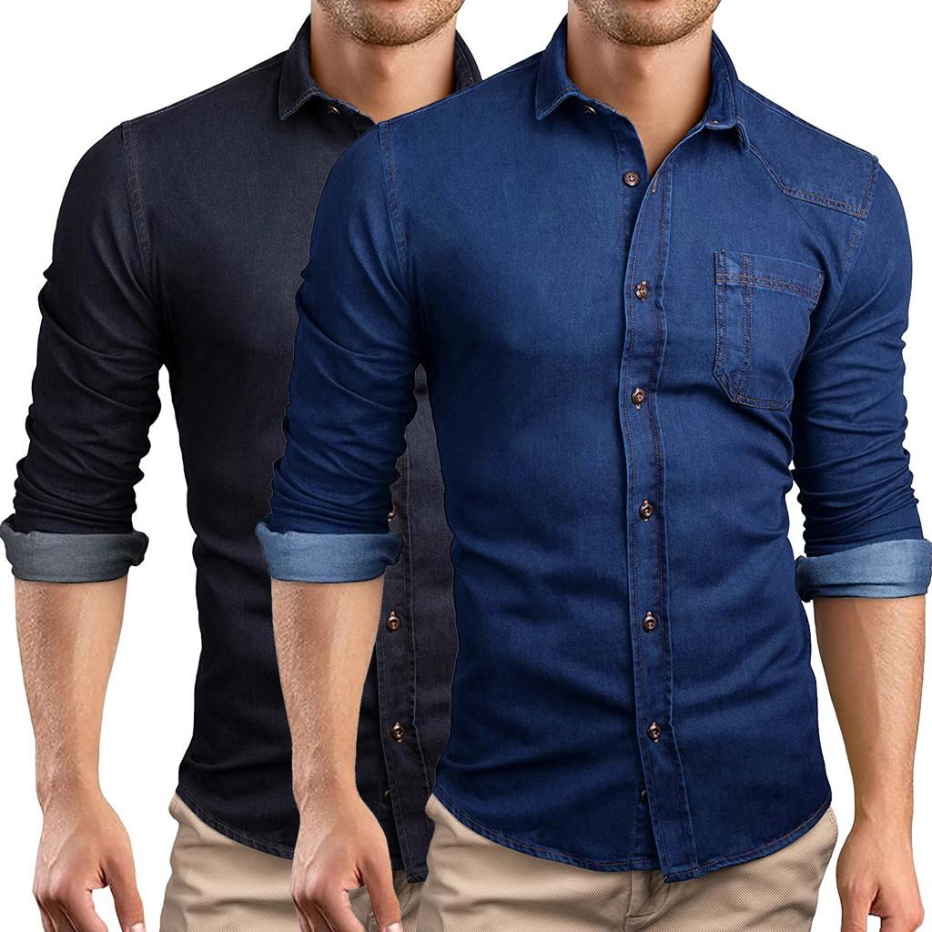 Winter Shirt solid Fashio Vertical Men Casual Solid Panel Button Down Denim Shirt With Pockets Top Blouse Brand Clothing #911