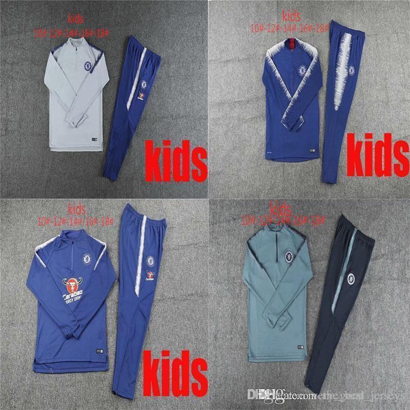 wholesale dealer fc950 a64e5 quality new 18 19 season Chelsea children jacket Morata Outdoor Apparel  2018 2019 tracksuits soccer jersey Giroud Hazard Kids training suit