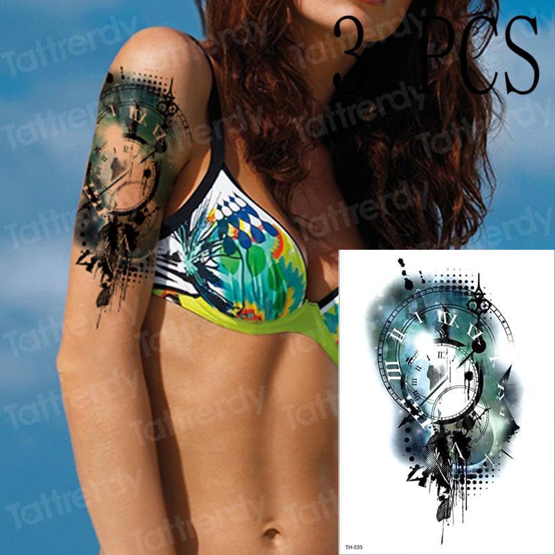 New Watercolor Greek Clock Watch Temporary Tattoo Men Women Fake