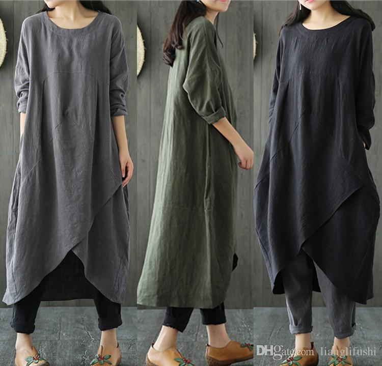 e2ce4d75e5d2 Spring And Autumn New National Style Women's Retro Long-sleeved Cotton And  Linen Loose Slim Large Size Dress Folk-custom Cotton And Linen Long-sleeved  Dress ...