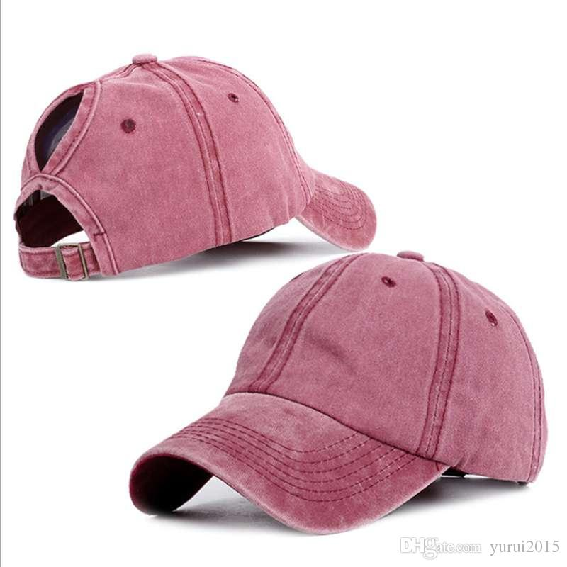 fd27976a7 2019 New Fashion Washed Ponytail Cap Solid Color Baseball Cap Summer  Breathable College Style Hair Hole Hats Travel Sun Caps