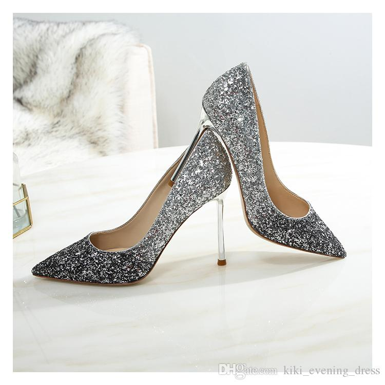 cbe09370f39 Fashion Women Wedding Shoes Glitter Sequined Point Toe Thin Heels High Heels  Pumps Stilettos Shoes For Women Bridal Shoes Cheap Ivory Bridal Shoes Cheap  ...
