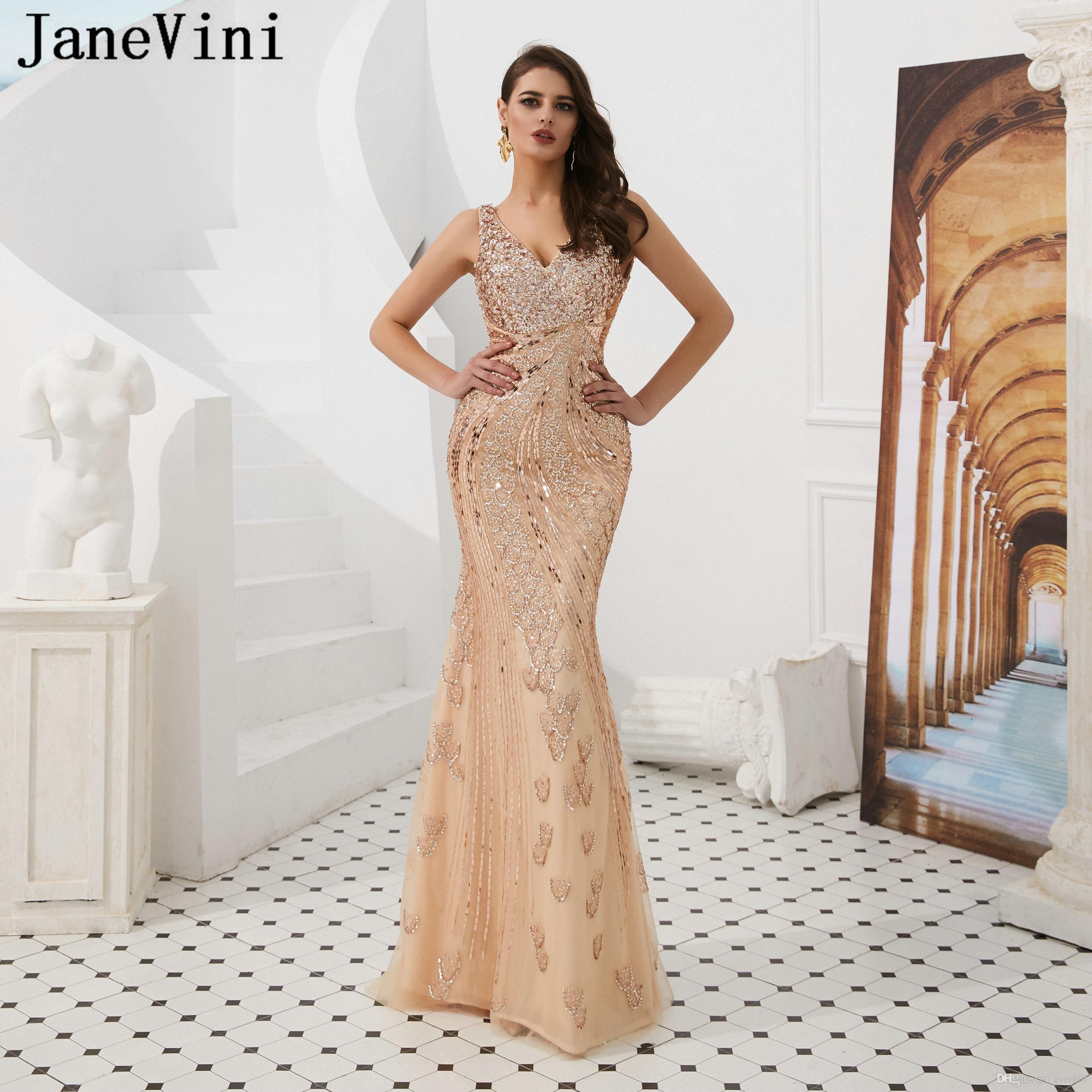 9e2401aa26 JaneVini Dubai Luxury Long Evening Dresses 2019 Sexy V Neck Robe De Soiree  Sparkle Sequined Beaded Backless Formal Mermaid Prom Party Gowns