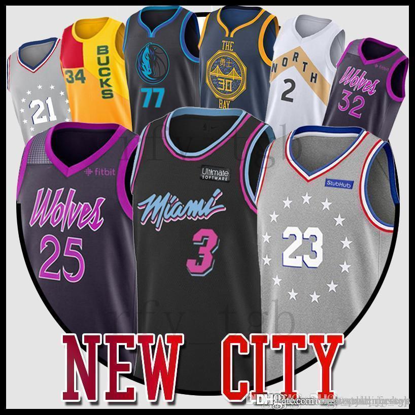 Antetokounmpo Doncic 77 Luka Kawhi 2 Leonard Stephen 30 Curry Dwyane 3 Wade  city jerseys Jimmy 23 Butler 11 Irving jersey Rose