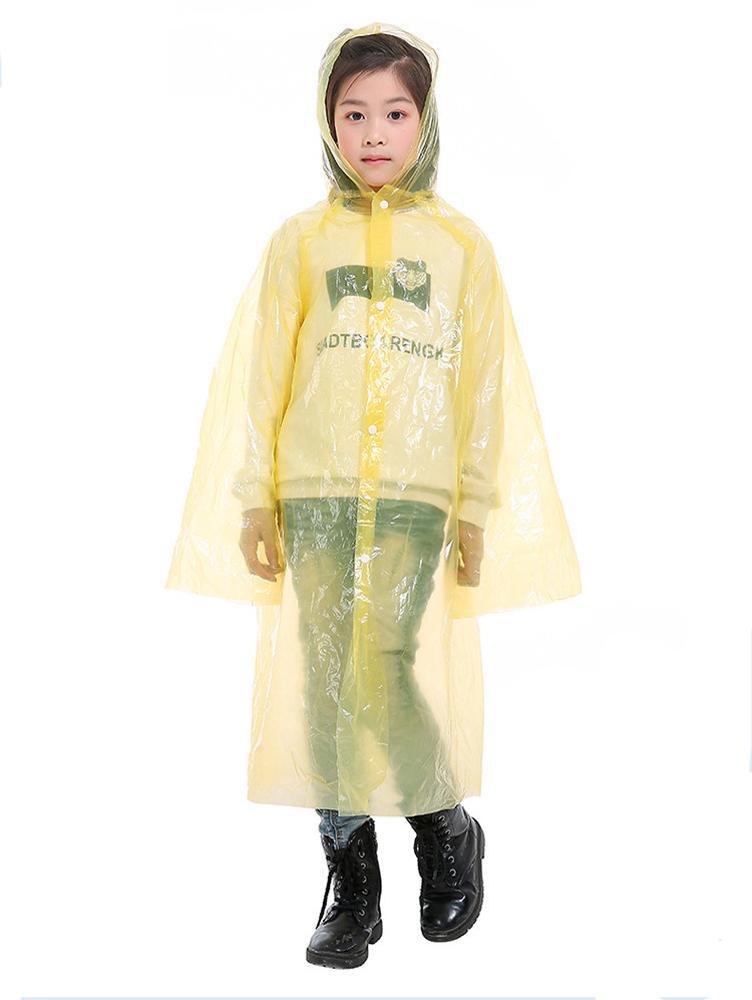 العلامة التجارية الجديدة المتاح للجنسين الكبار أطفال الأطفال للماء PE مقنع معطف واق من المطر المعطف المشي لمسافات طويلة للسفر ملابس ضد المطر اللون الصلبة