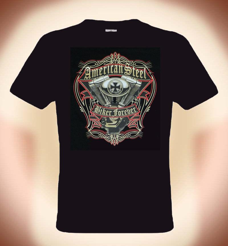 Biker T-Shirt,American Steel, Taglie: S 3XL (fino 5XL Anche , Supplemento suit hat pink t-shirt